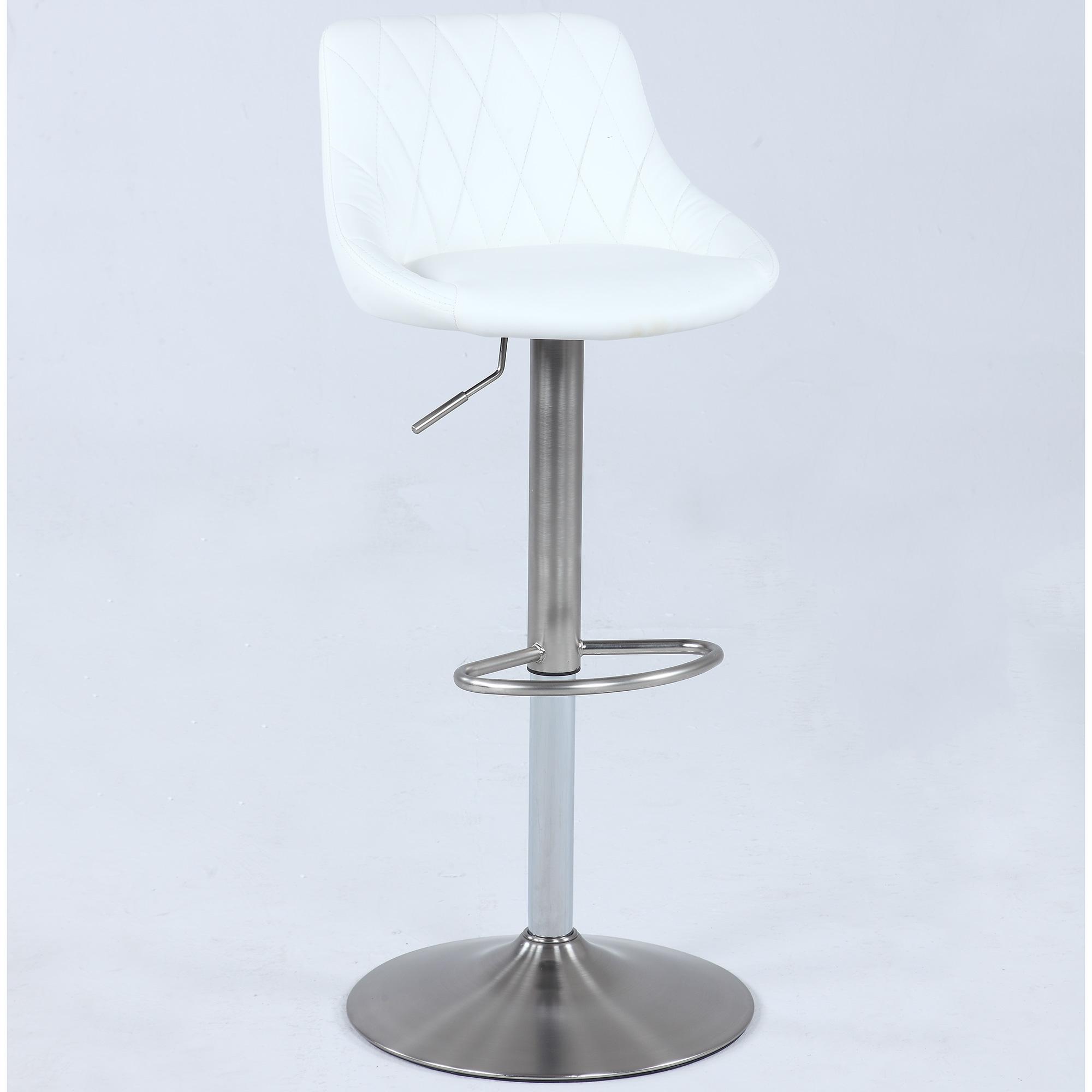 chintaly imports aswht pneumatic swivel stool in white  - pneumatic swivel stool in white leather w diamond stitching on brushednickel
