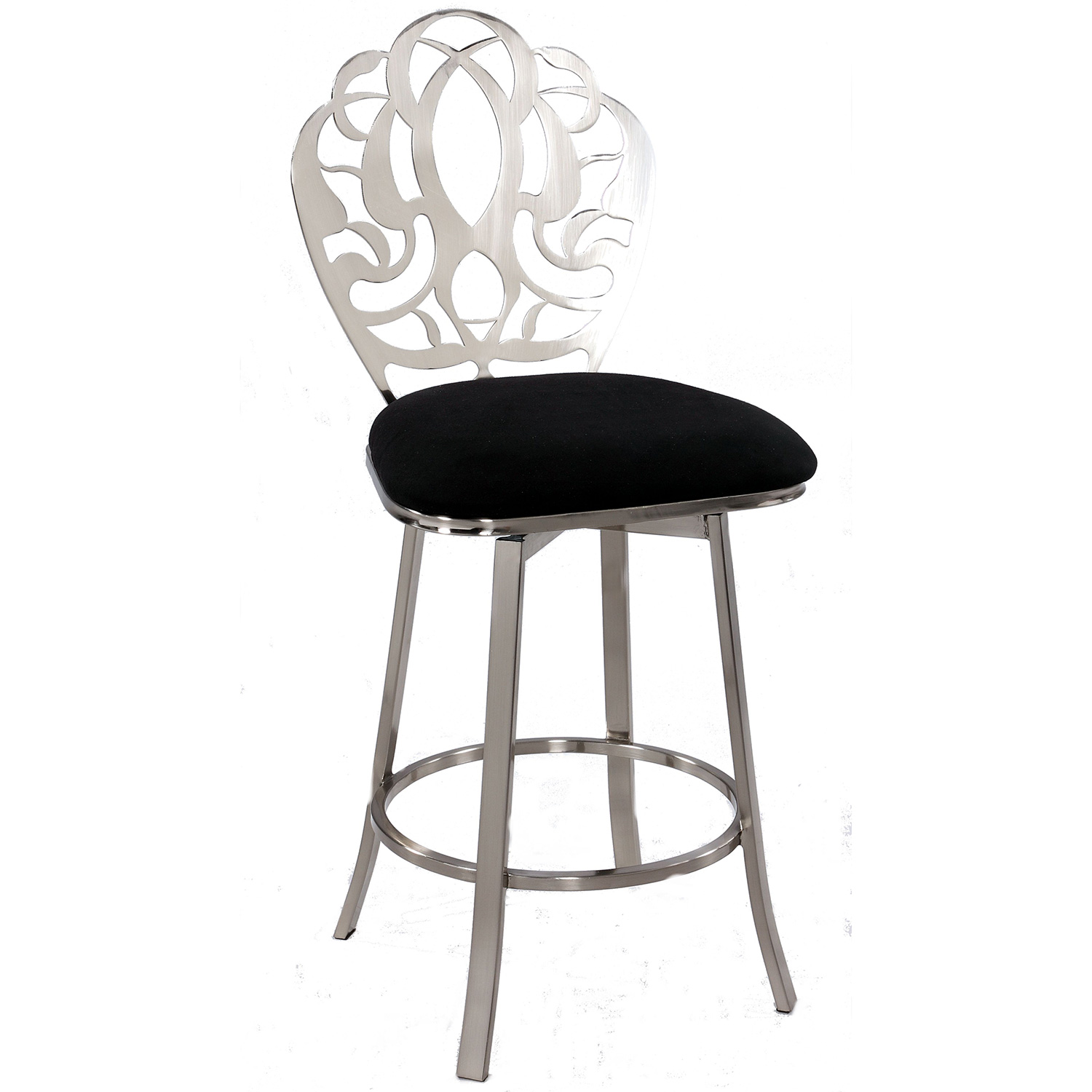 Fantastic Laser Cut Back Memory Back Swivel Counter Stool In Black Microfiber Brushed Nickel By Chintaly Imports Unemploymentrelief Wooden Chair Designs For Living Room Unemploymentrelieforg