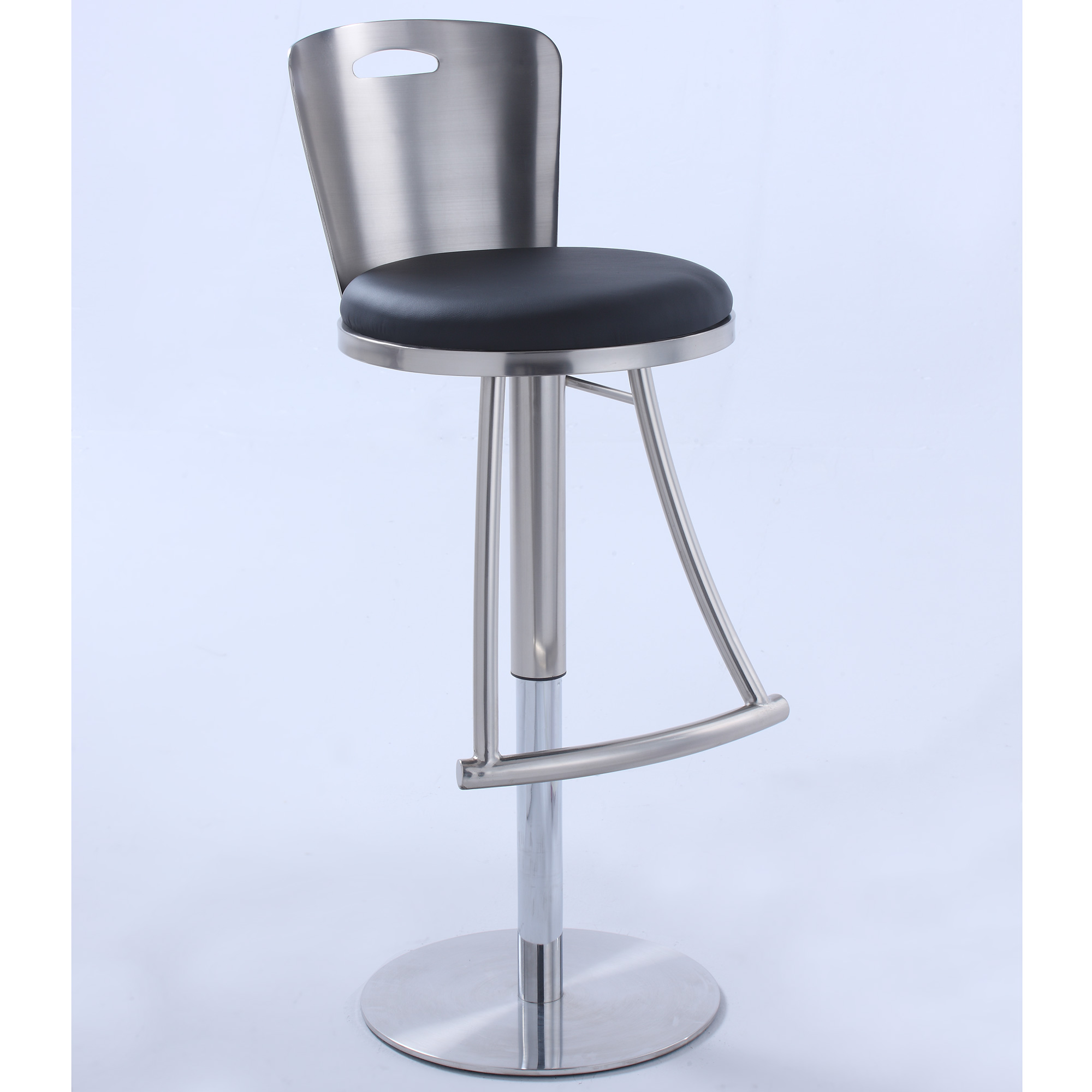 Surprising Metal Back Adjustable Height Bar Stool In Brushed Nickel Black Leatherette By Chintaly Imports Squirreltailoven Fun Painted Chair Ideas Images Squirreltailovenorg
