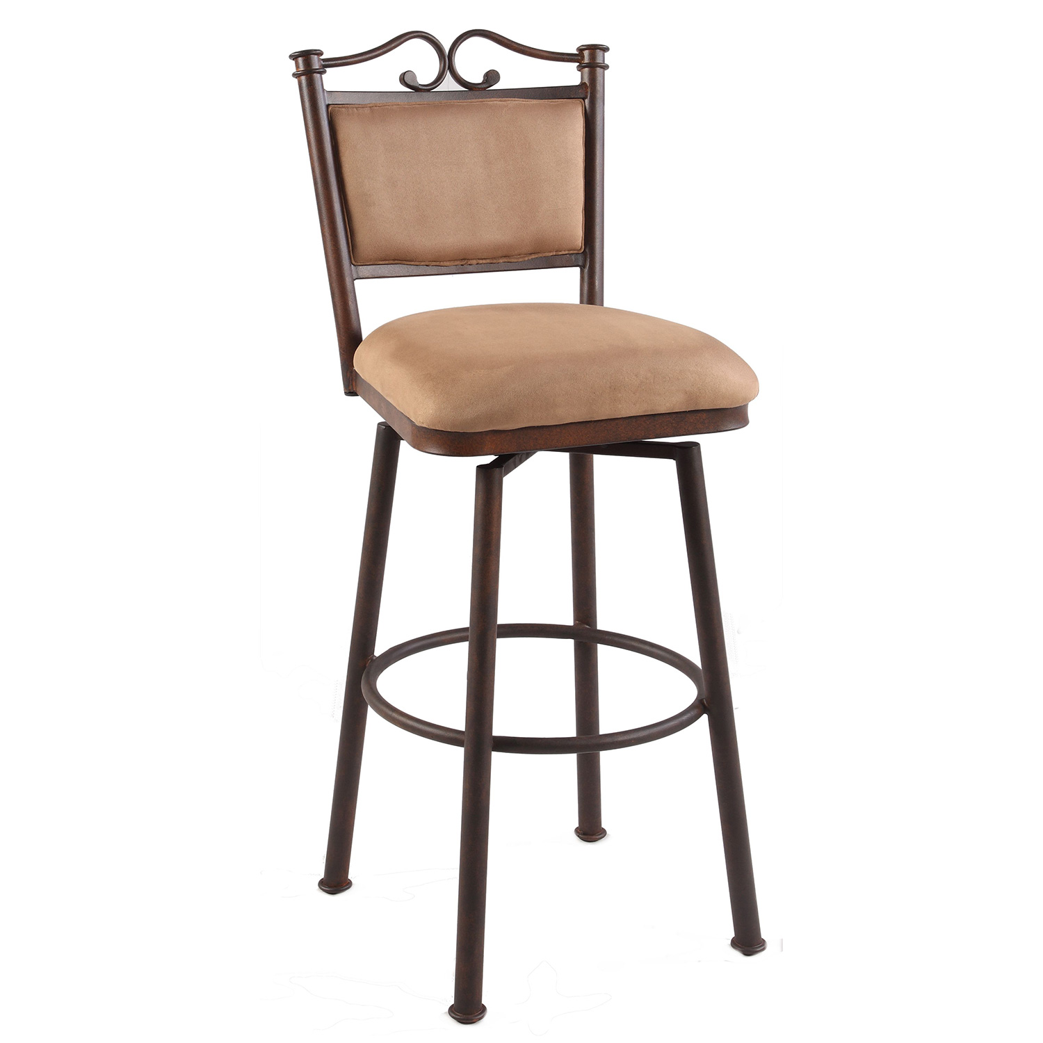 Marvelous 30 Memory Return Swivel Bar Stool In Taupe Suede Microfiber By Chintaly Imports Dailytribune Chair Design For Home Dailytribuneorg
