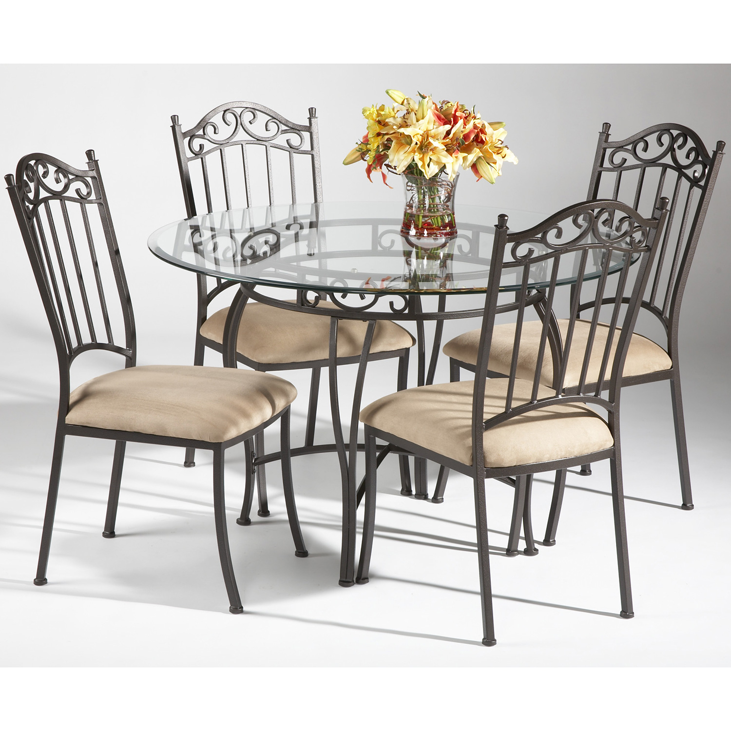 Chintaly 0710 5 Pcs Wrought Iron 5 Piece Round Dining Set In Antique Taupe