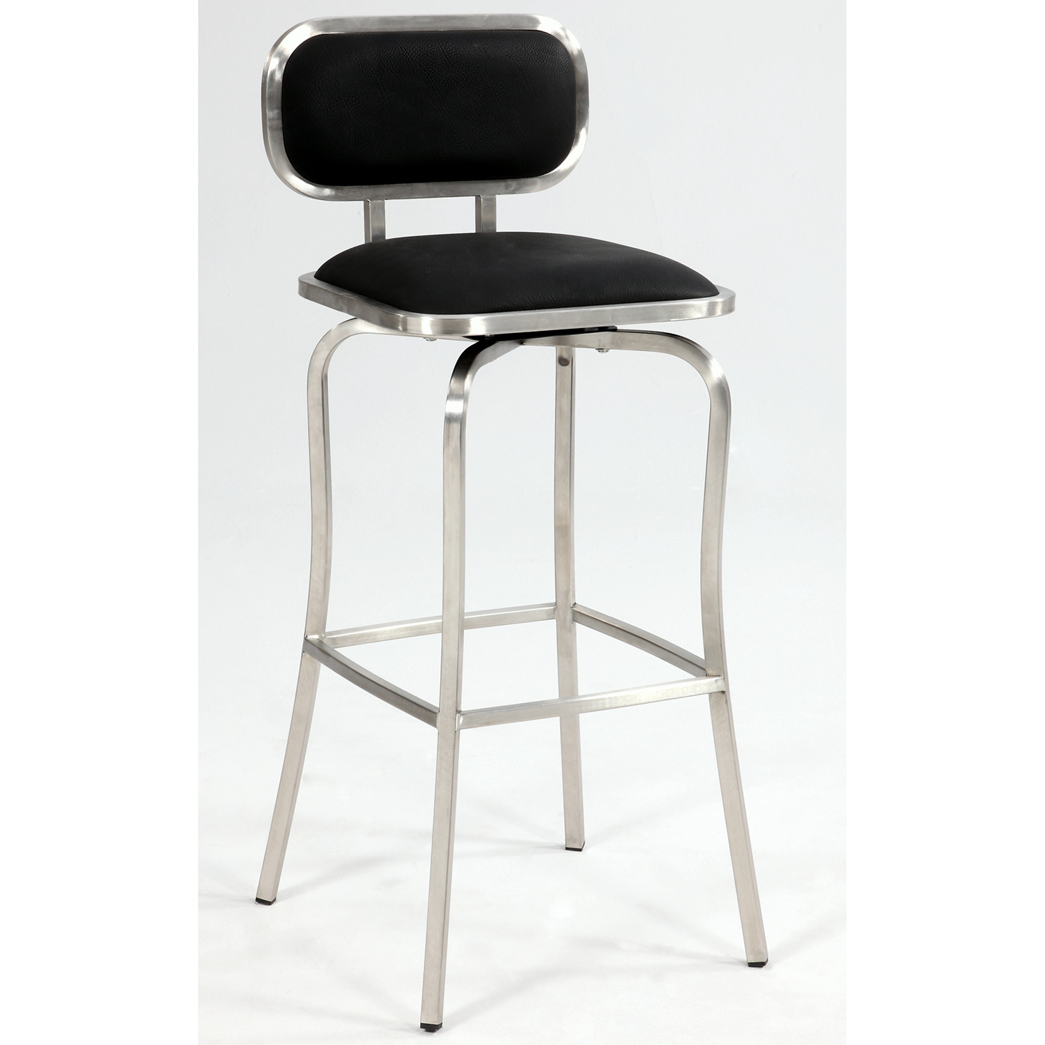 Wondrous Modern Swivel Bar Stool In Black Leatherette Brushed Stainless Steel By Chintaly Imports Gmtry Best Dining Table And Chair Ideas Images Gmtryco