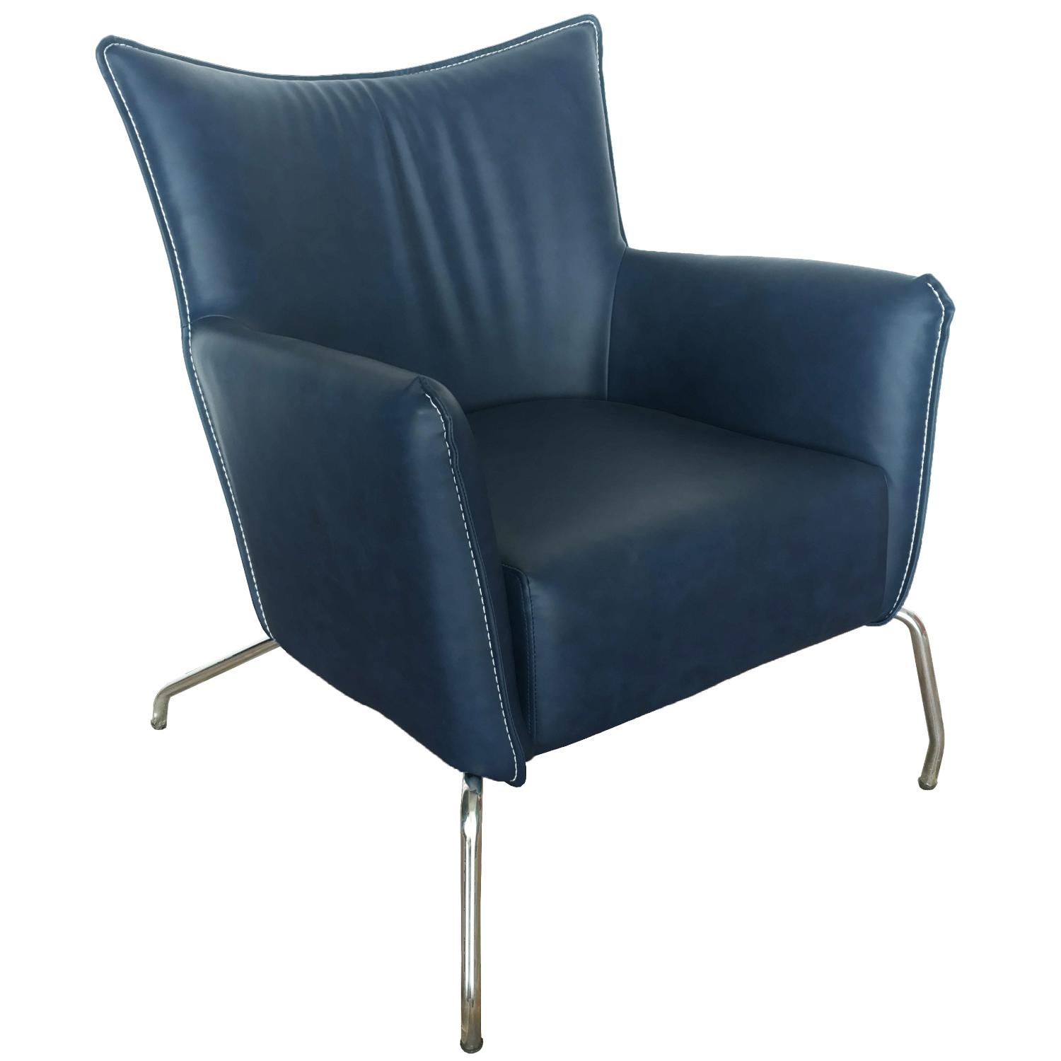 Groovy 2008 Accent Chair In Blue Leatherette Polished Stainless By Chintaly Imports Inzonedesignstudio Interior Chair Design Inzonedesignstudiocom