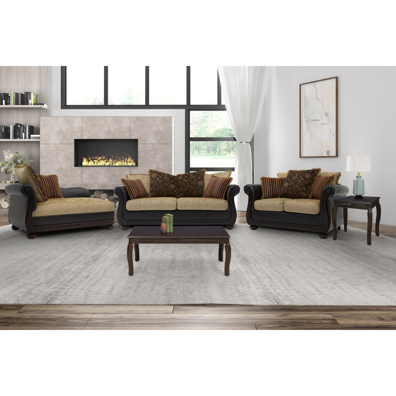 Miraculous 8525 Ruched Arm Sofa Loveseat Chaise Set In Brown Fabric Leatherette By Chintaly Imports Cjindustries Chair Design For Home Cjindustriesco