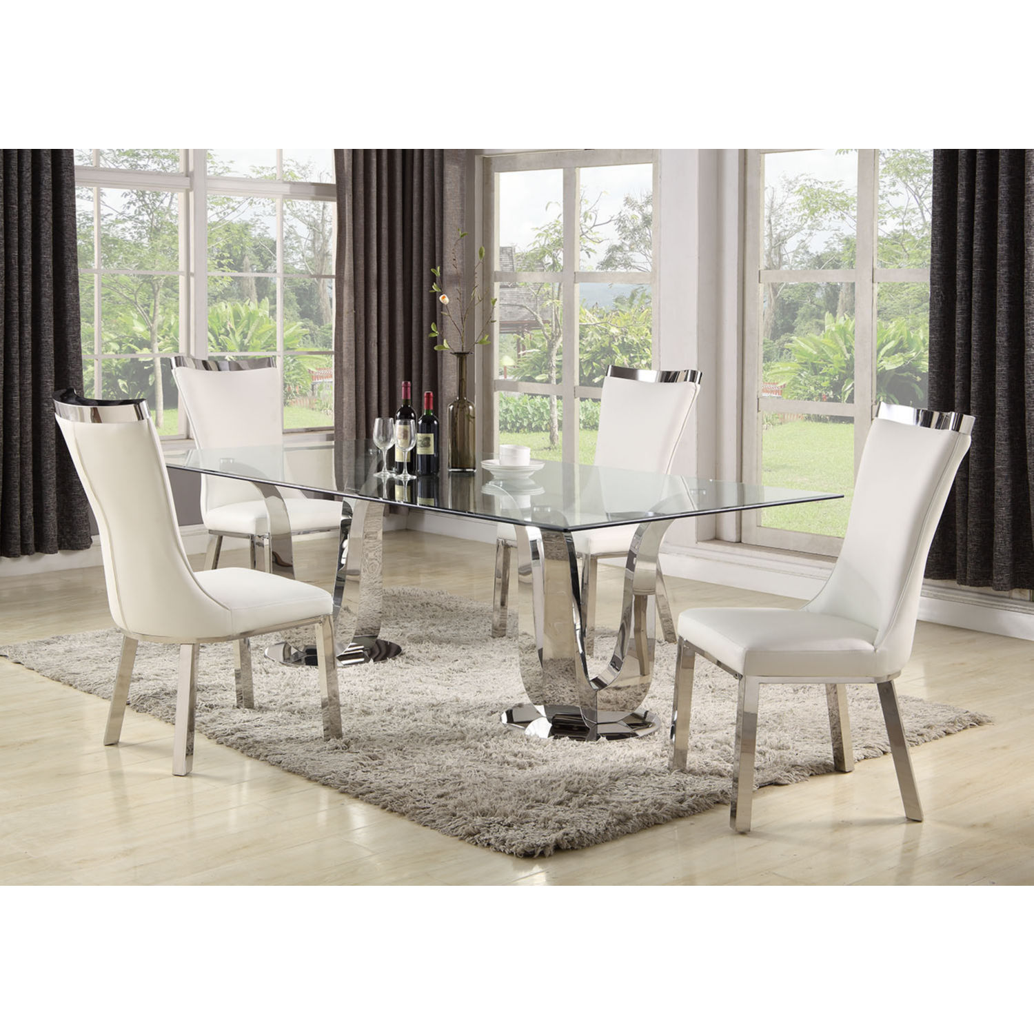 Remarkable Adelle 5 Piece Dining Set In Stainless Glass White Leatherette By Chintaly Imports Home Interior And Landscaping Synyenasavecom