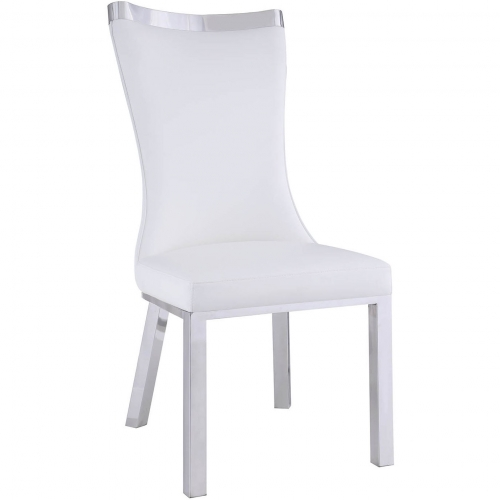 Prime Adelle Curved Back Dining Chair In White Leatherette Stainless Set Of 2 By Chintaly Imports Home Interior And Landscaping Synyenasavecom