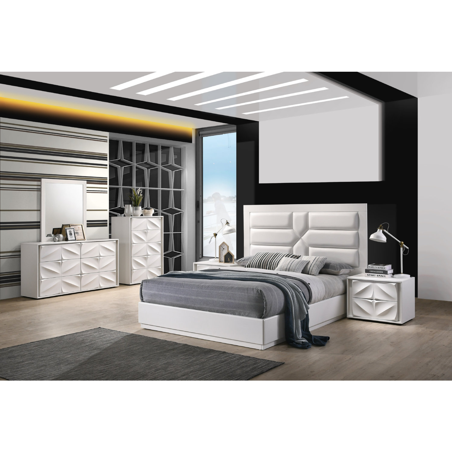 Chintaly Amsterdam King 4pc Amsterdam 4 Piece King Bedroom Set In Matte White