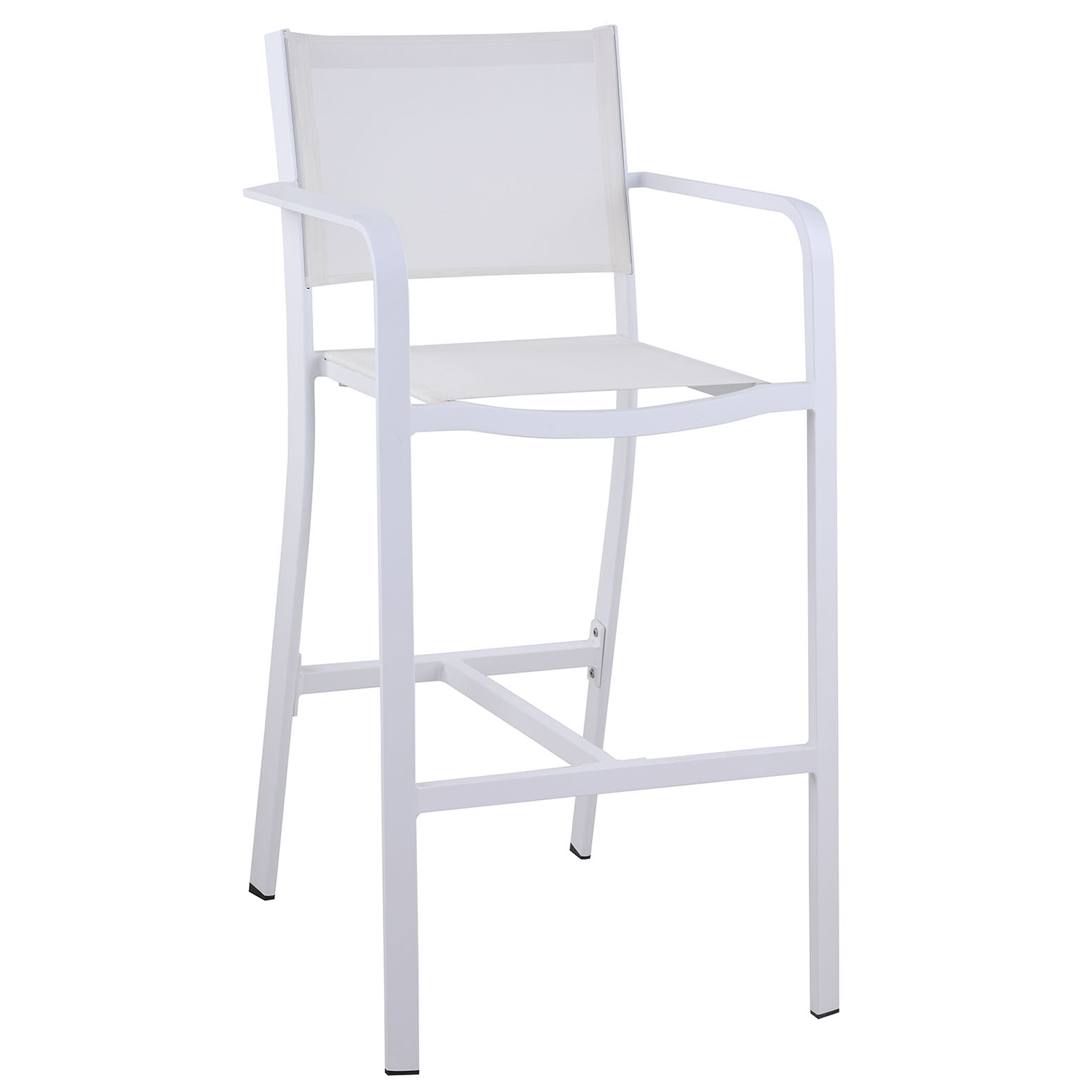 Phenomenal Carmel Outdoor Bar Stool In White Textilene Aluminum Set Of 4 By Chintaly Imports Squirreltailoven Fun Painted Chair Ideas Images Squirreltailovenorg
