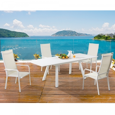Chintaly Imports Malibu 5 Piece Outdoor Ext Dining Set W/ High Back Dining  Chairs