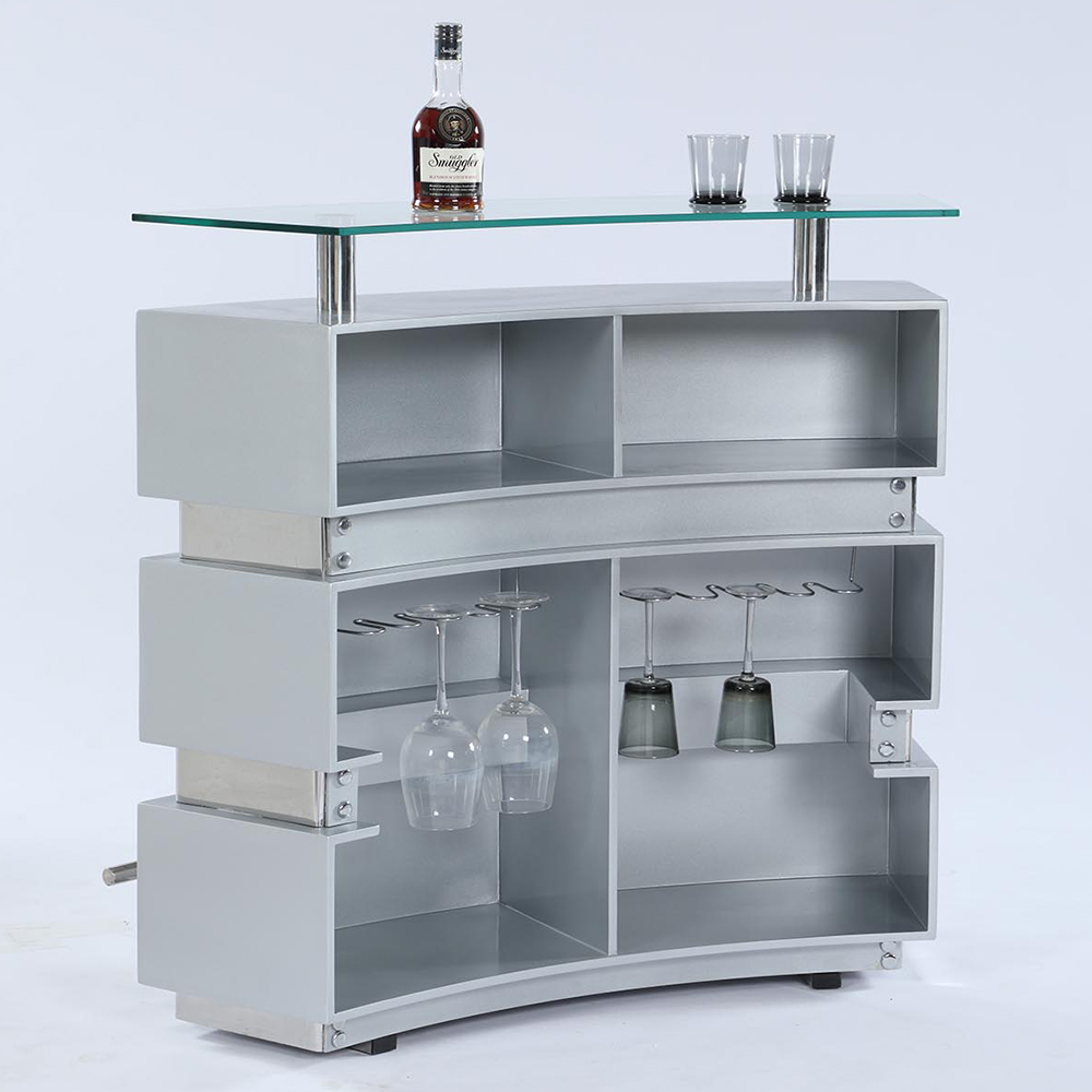 Chintaly Imports XENIA-BAR-GRY-B+T Xenia Bar in High Gloss Gray ...