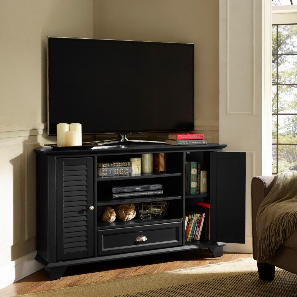 Crosley Cf100550 Bk Palmetto 50 Corner Tv Stand In Black W