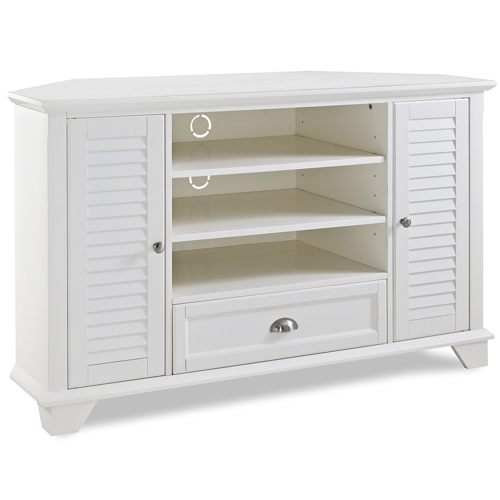 crosley cf100550 wh palmetto 50 corner tv stand in white w louvered doors - Corner Tv Stands 50 Inch