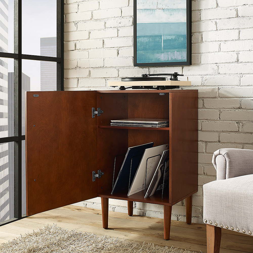 crosley cfma everett record player stand in mahogany finish - crosley everett record player stand in mahogany finish