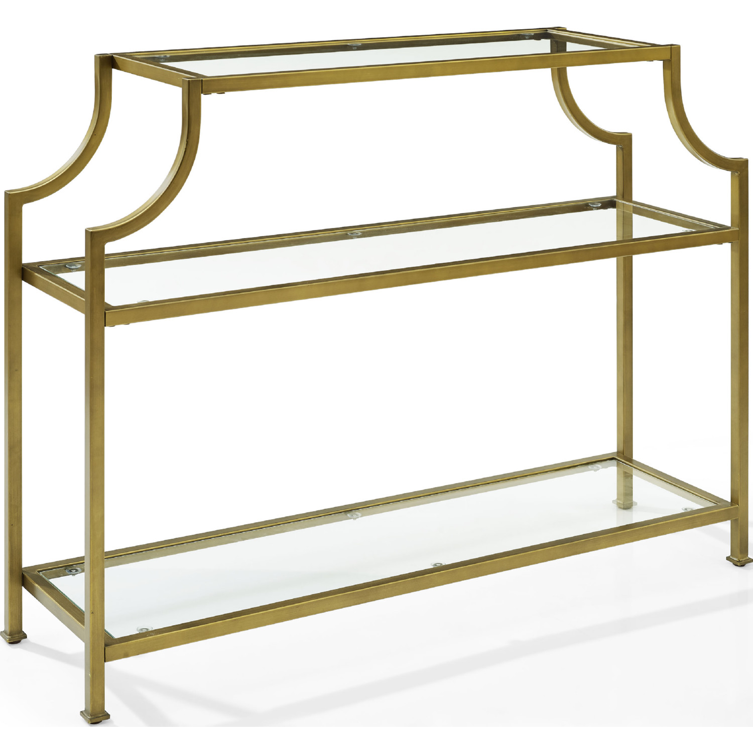 Aimee Console Table In Antique Gold Metal Tempered Gl By Crosley