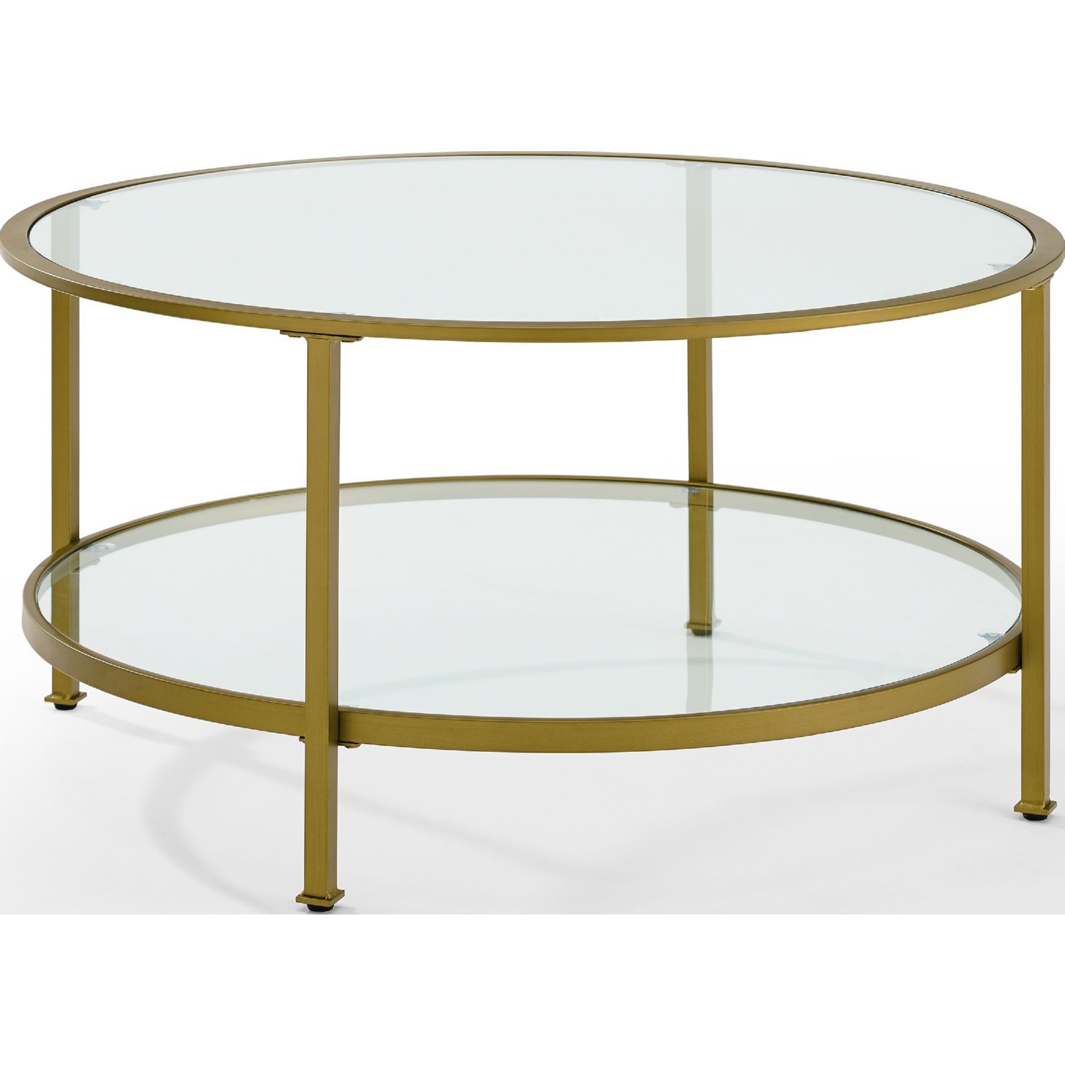 Aimee Gl Coffee Table In Antique Gold Tempered By Crosley
