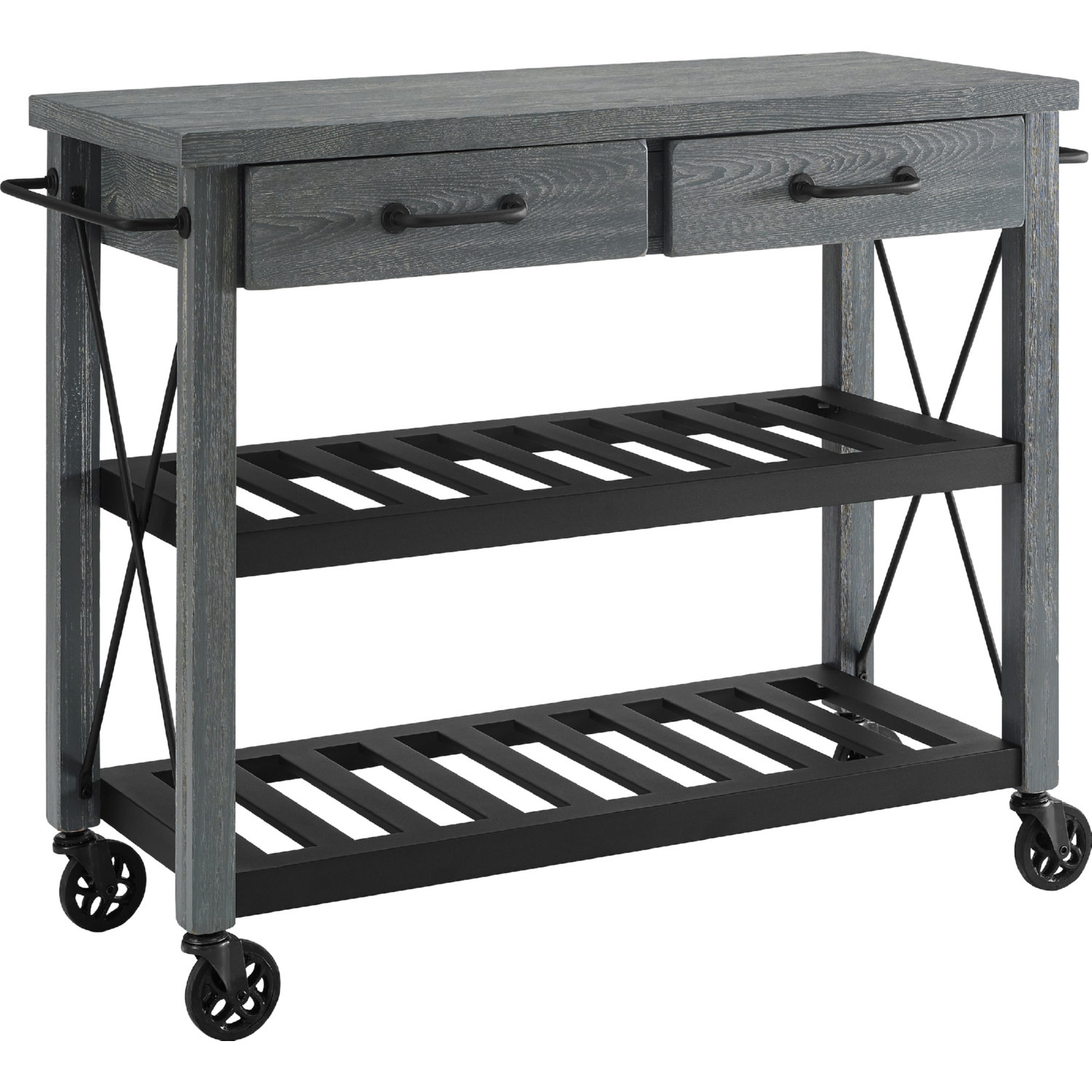 Crosley Furniture Cf3008 Na Roots Rack Industrial Kitchen Cart: Crosley CF3008-GY Roots Rack Kitchen Cart In Grey Finish