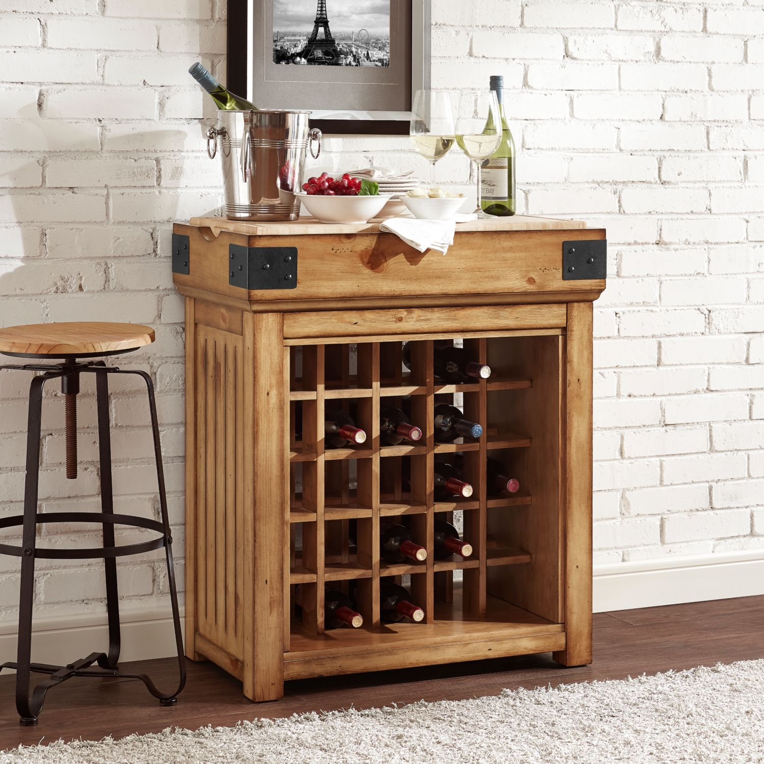Crosley CF4204 NA Roots Bistro Wine Island Bar Cabinet in Rustic