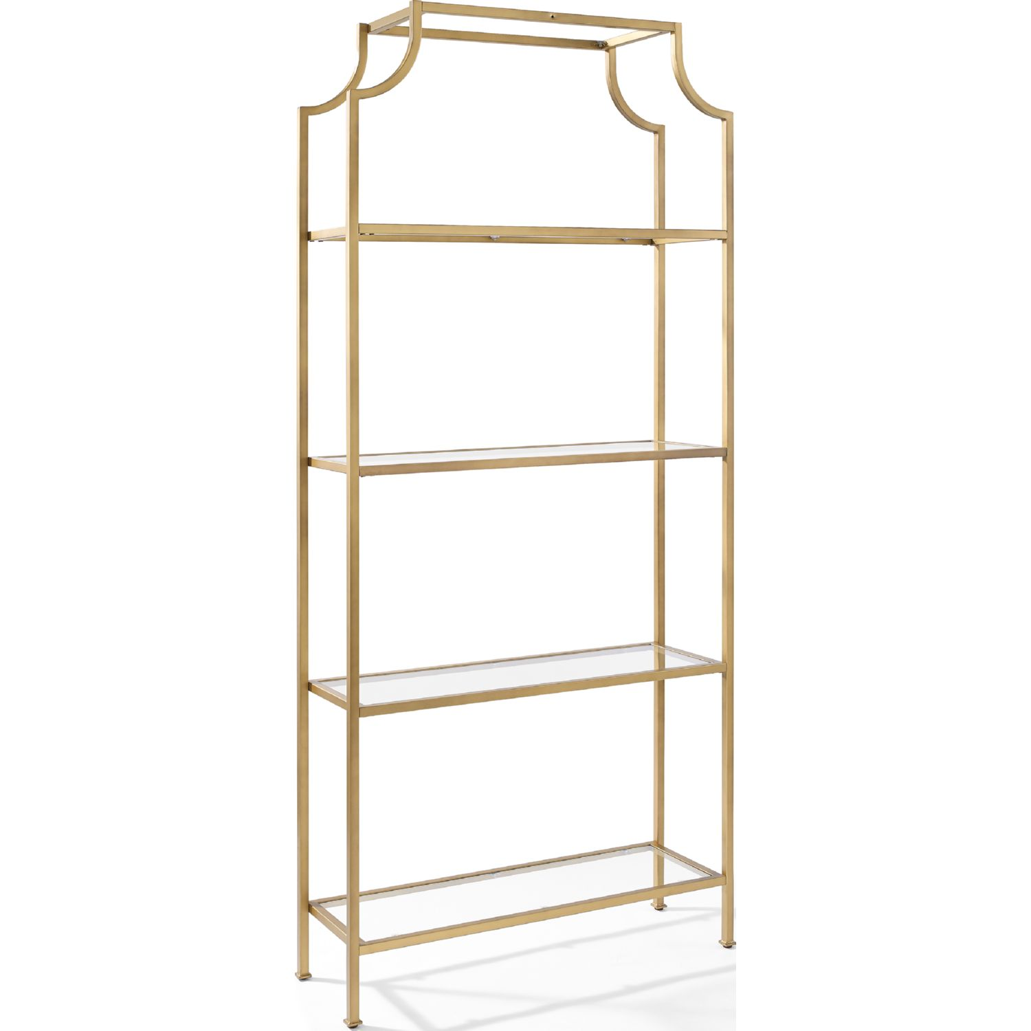 Crosley CF6101 GL Aimee Glass Etagere W Antique Gold