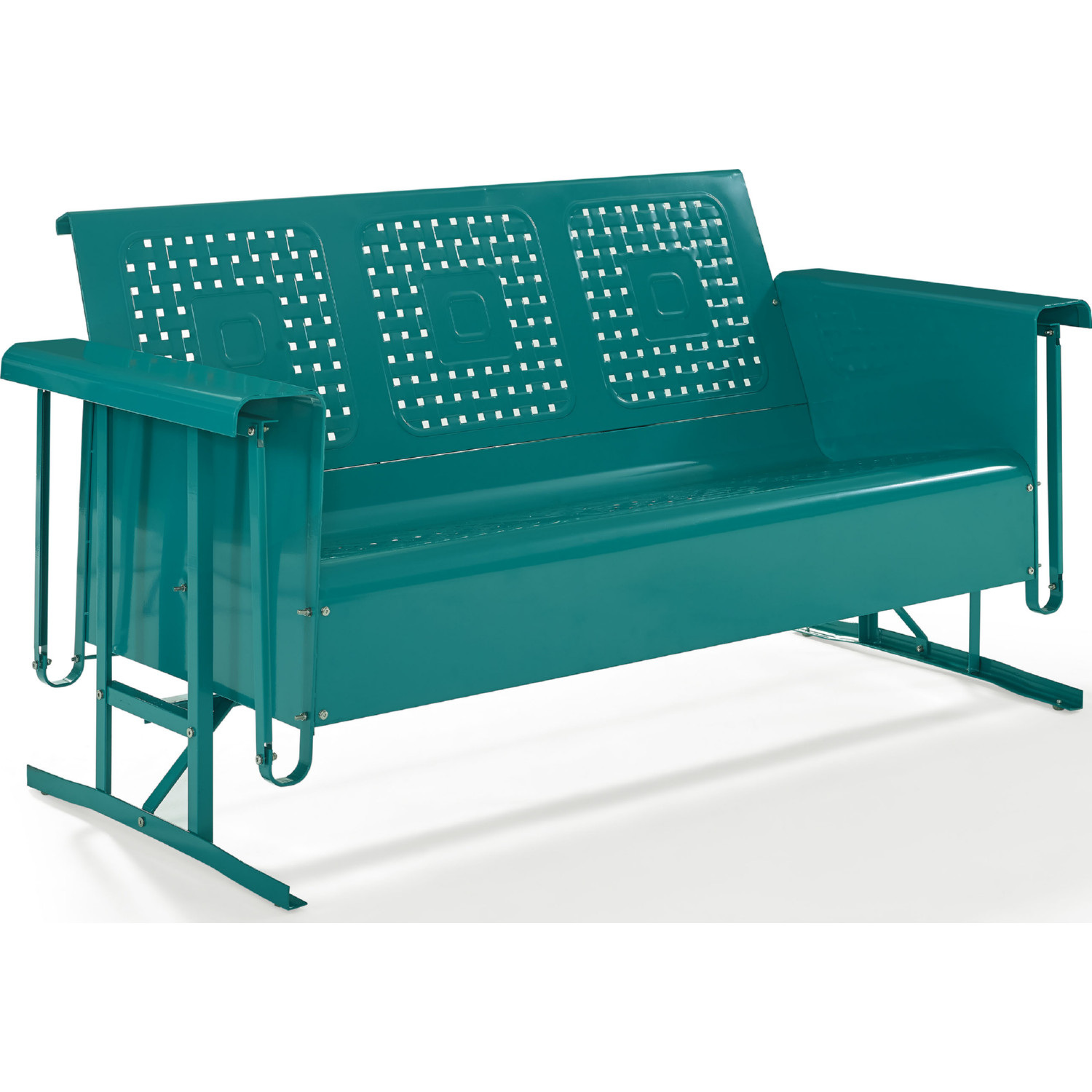 Bates Outdoor Clic Metal Sofa Glider In Turquoise By Crosley