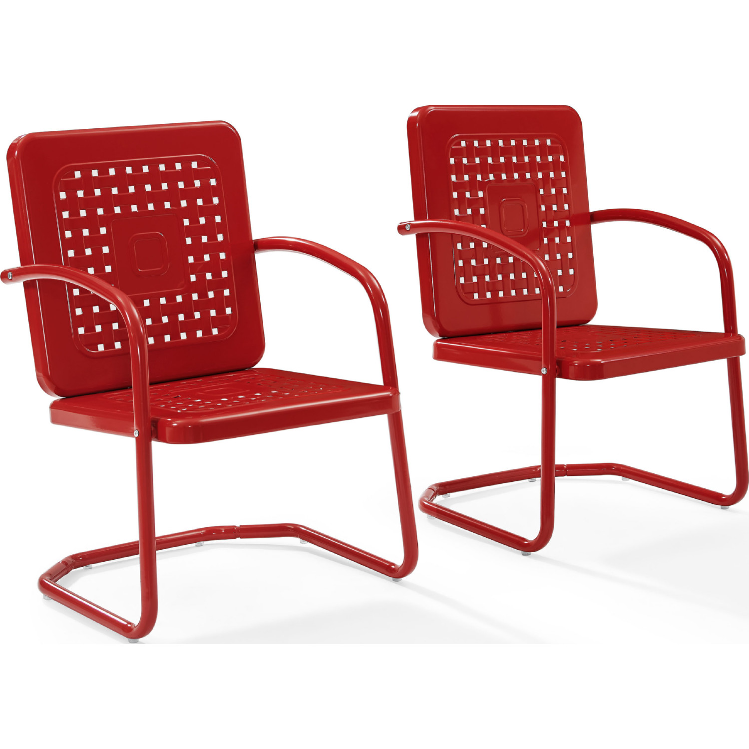 Crosley Bates Outdoor Classic Metal Chair In Red (Set Of 2)