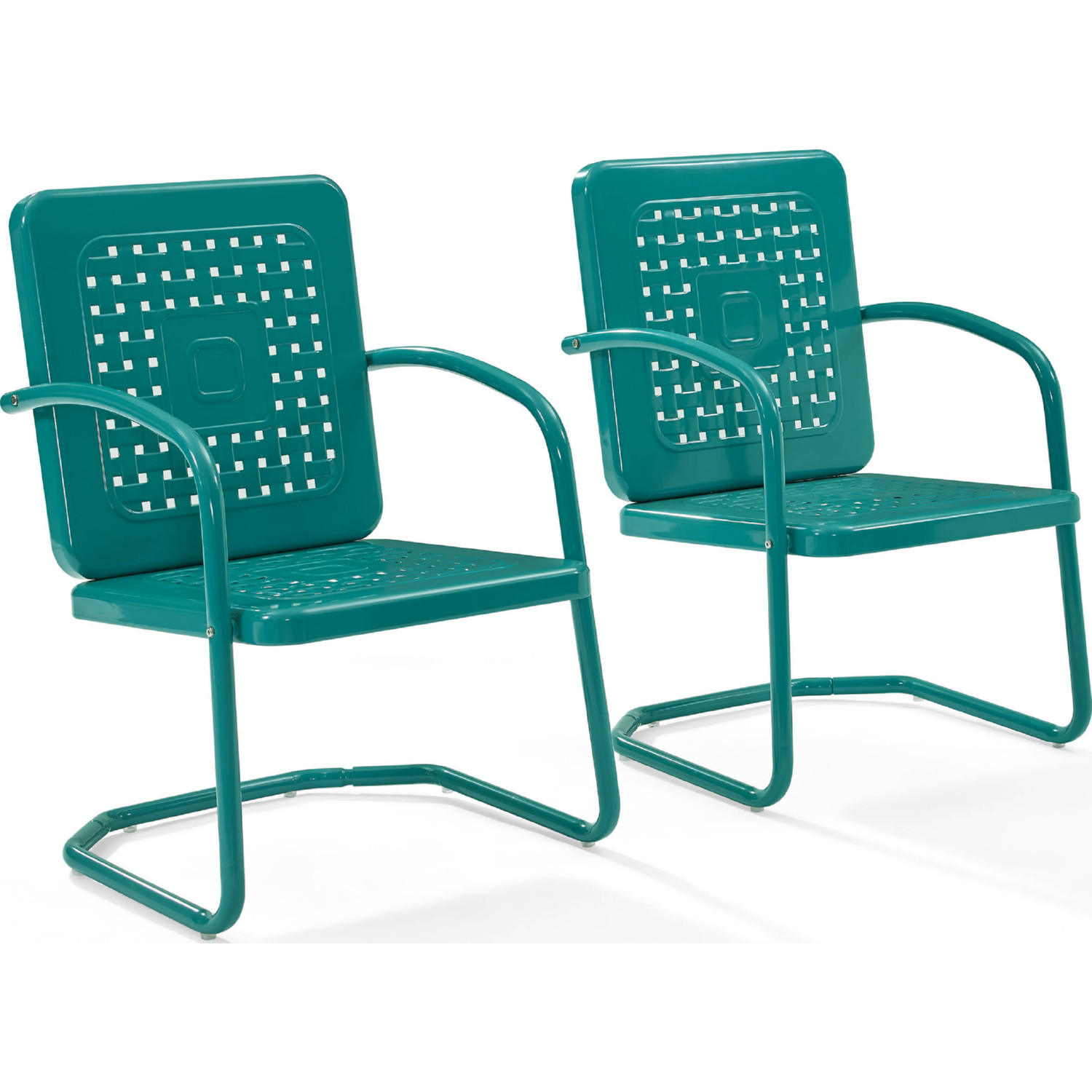 Crosley Bates Outdoor Classic Metal Chair In Turquoise (Set Of 2)
