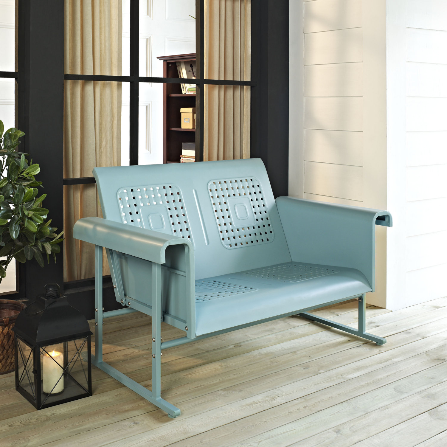 Incredible Veranda Outdoor Loveseat Glider In Caribbean Blue Steel By Crosley Onthecornerstone Fun Painted Chair Ideas Images Onthecornerstoneorg
