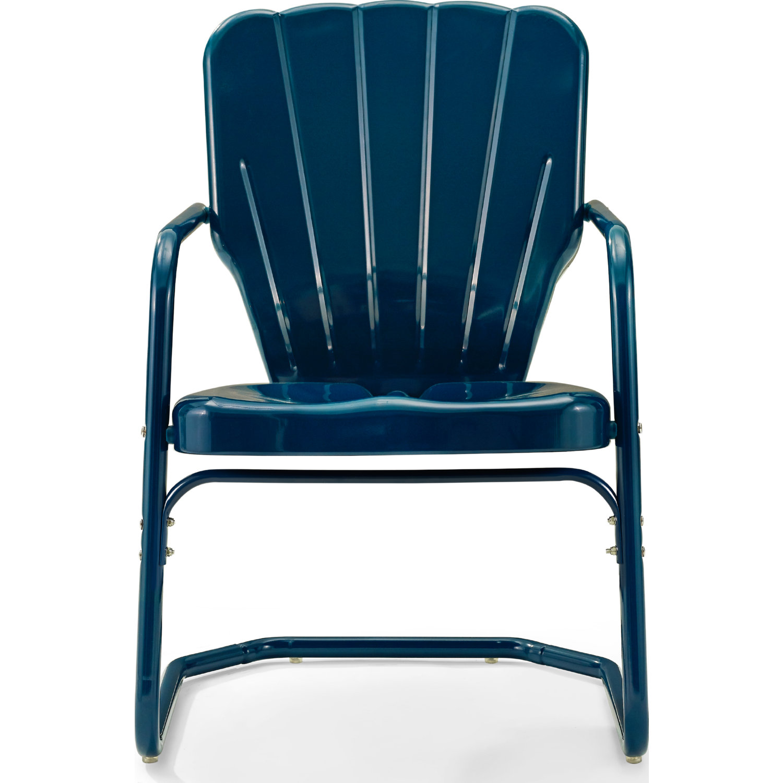 Ridgeland Outdoor Chair in Navy Blue Metal (Set of 8) by Crosley