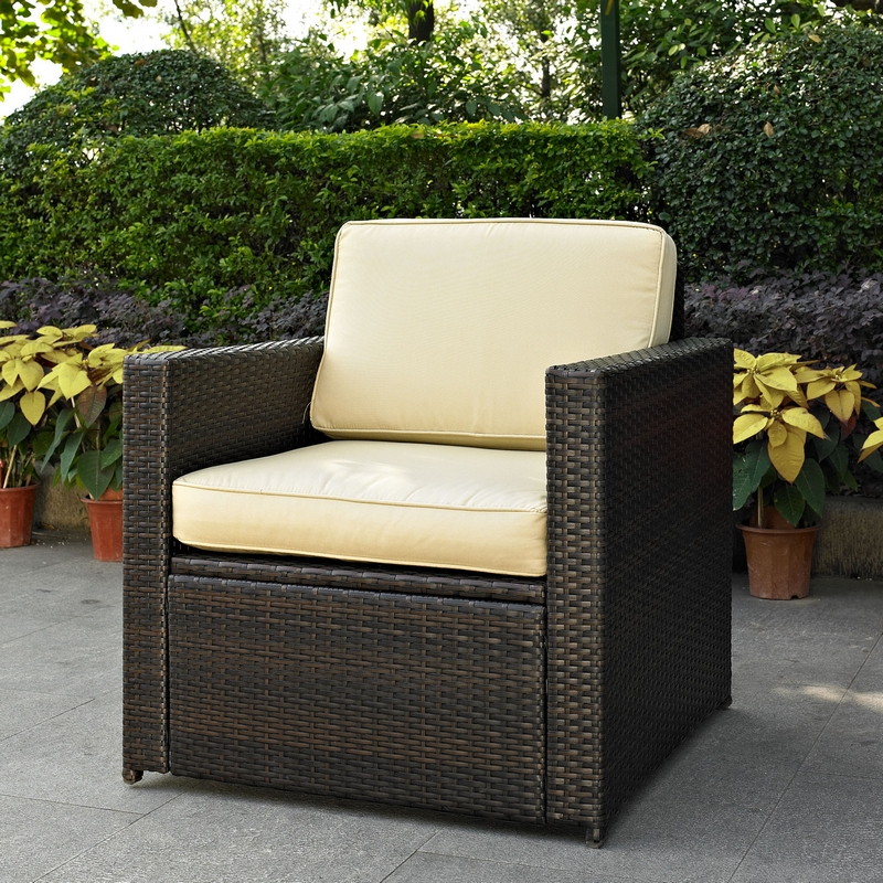 crosley palm harbor 4 piece wicker patio set loveseat 2 chairs u0026 glass top table