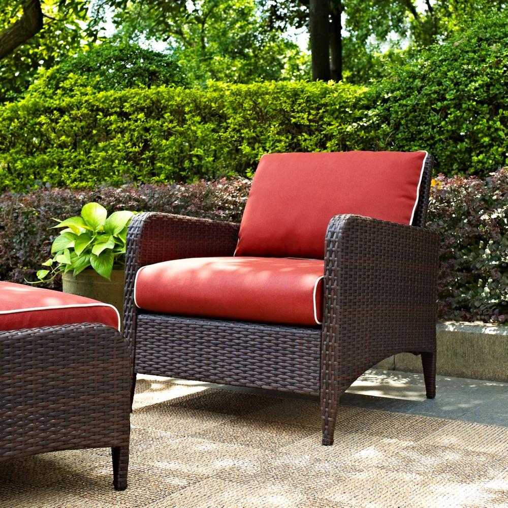 Crosley Co7118 Br Kiawah Outdoor Wicker Arm Chair W Sangria Cushions