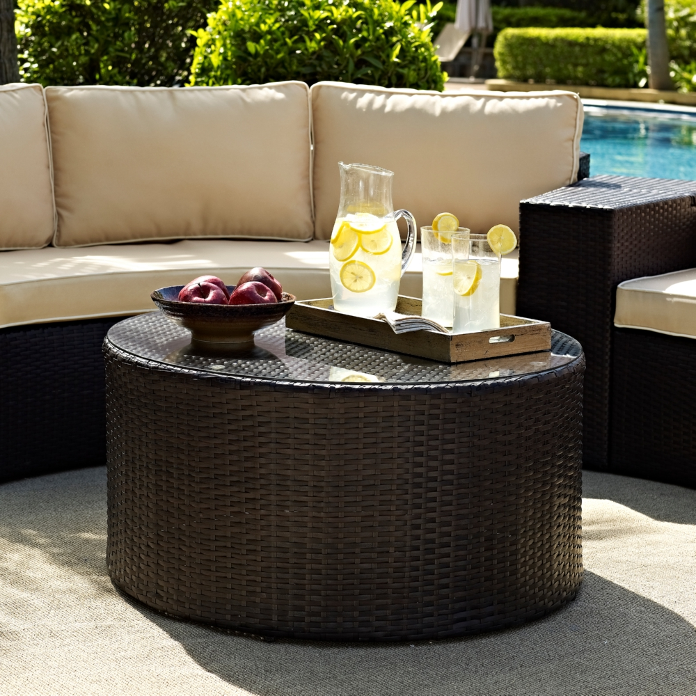 Crosley Catalina Outdoor Wicker Round Gl Top Coffee Table