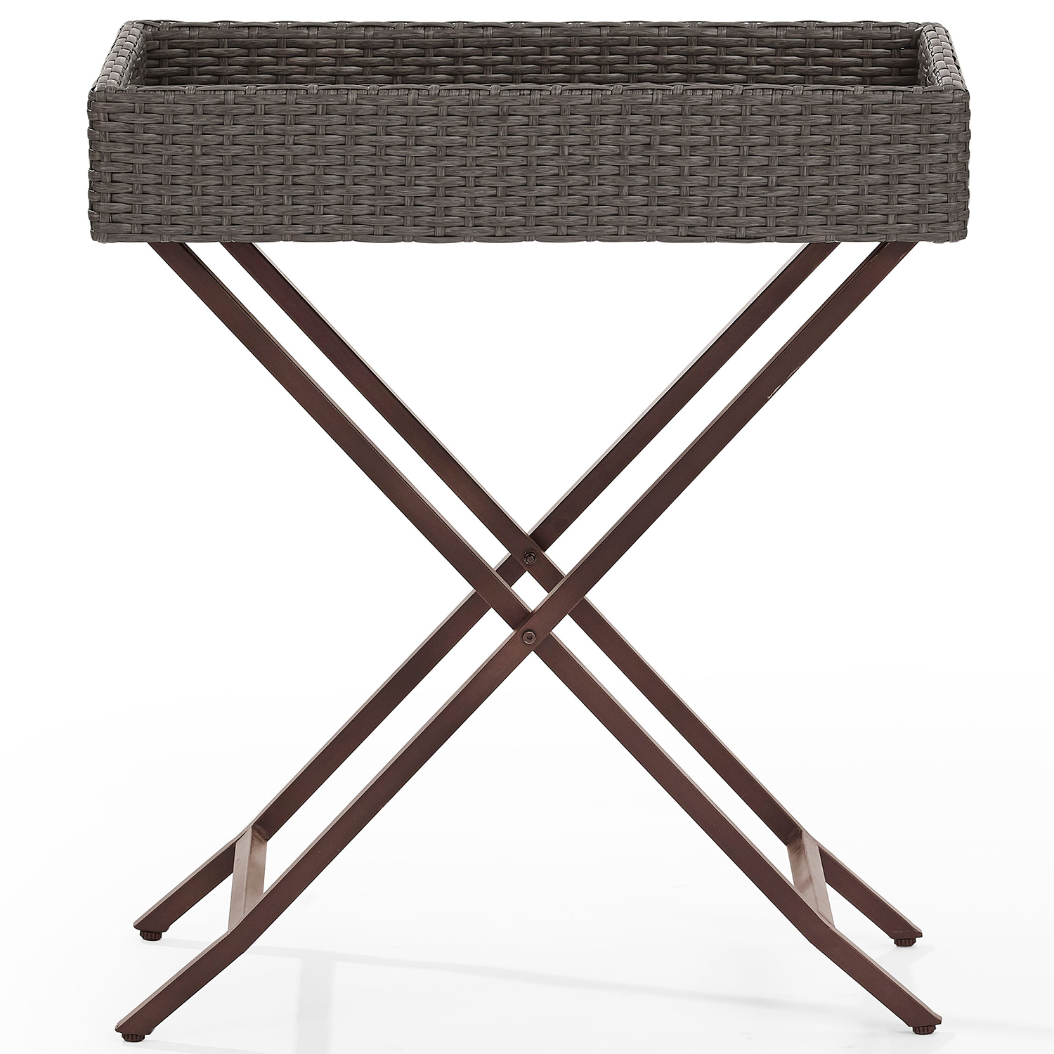 Crosley CO7206 WG Palm Harbor Outdoor Resin Wicker Butler Tray Table