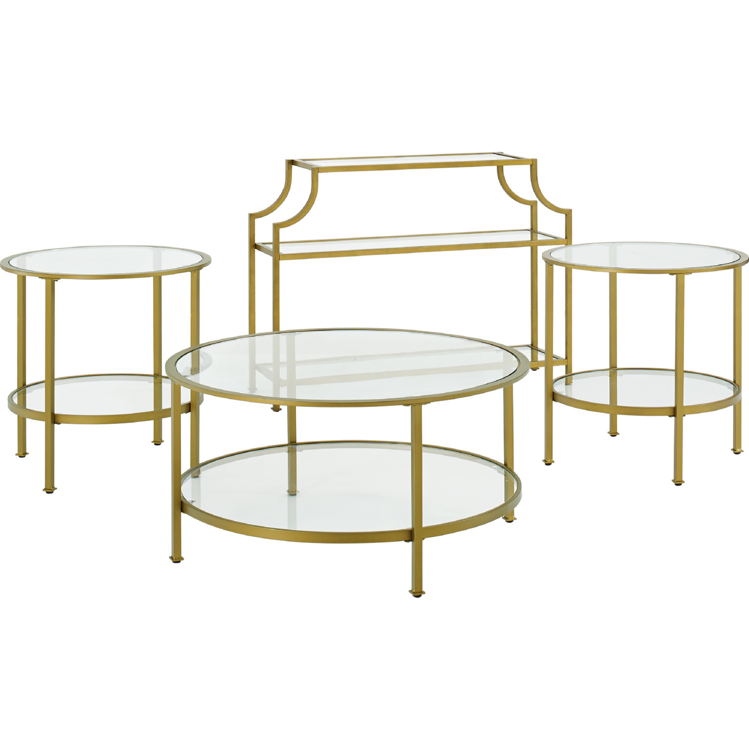Aimee 4 Piece Console Coffee 2 Side Tables Set In Gold Gl By Crosley