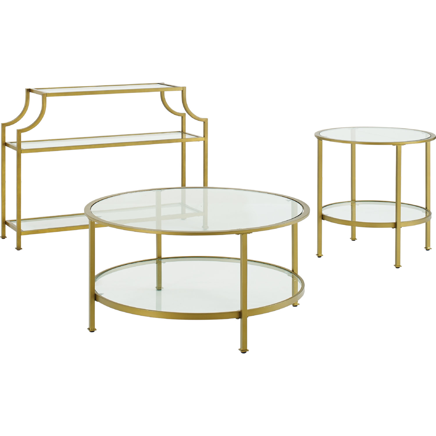 Aimee 3 Piece Console Coffee Side Table Set In Gold Gl By Crosley