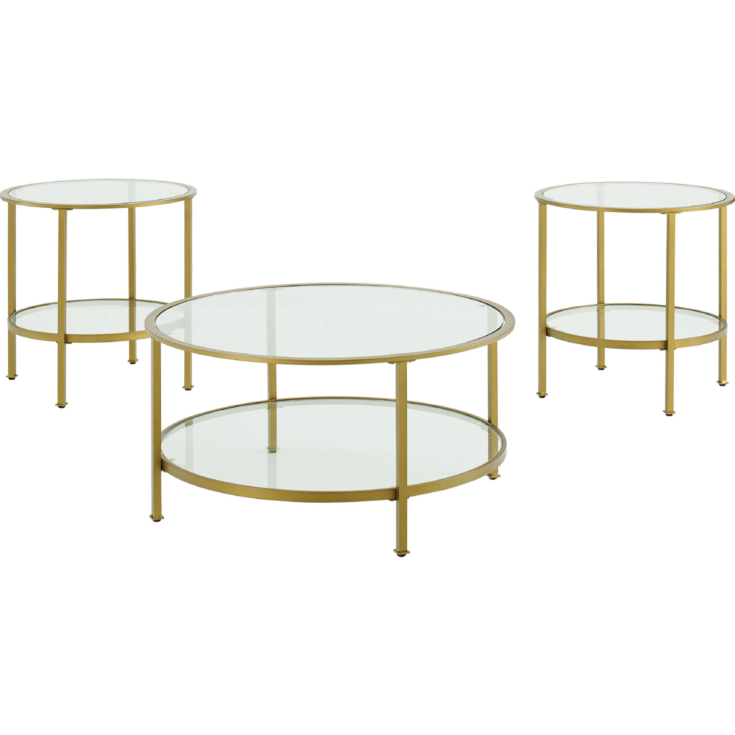 Aimee 3 Piece Coffee 2 Side Tables Set In Gold Gl By Crosley