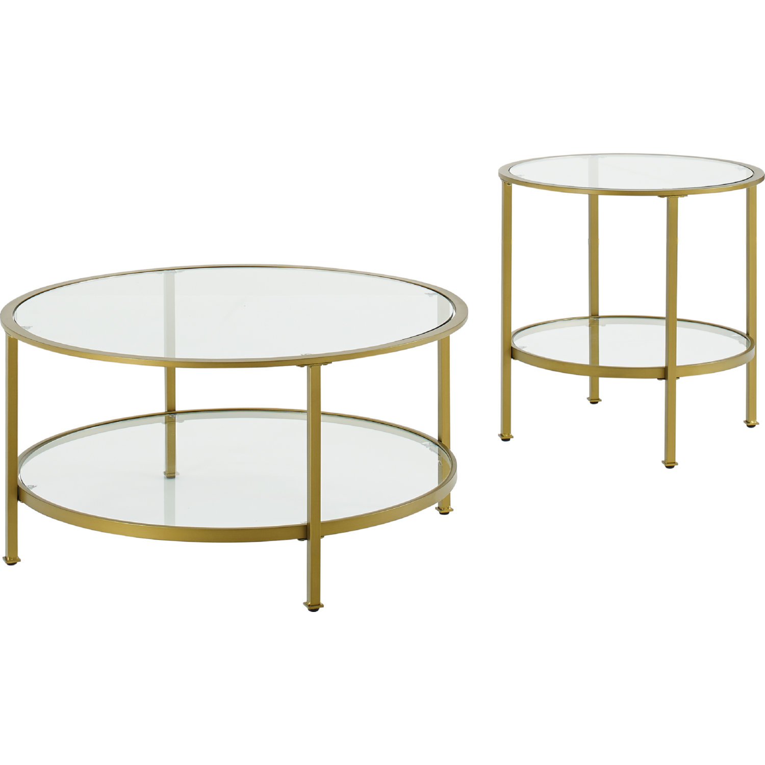 Aimee 2 Piece Coffee End Table Set In Gold Gl By Crosley