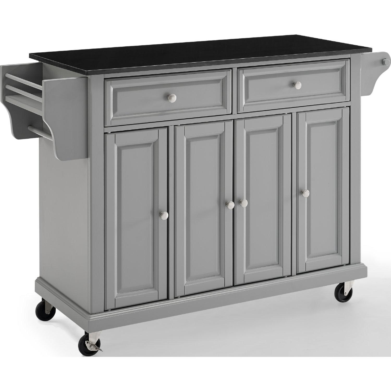 Kitchen Cart/Island in Vintage Grey w/ Black Granite Top by Crosley