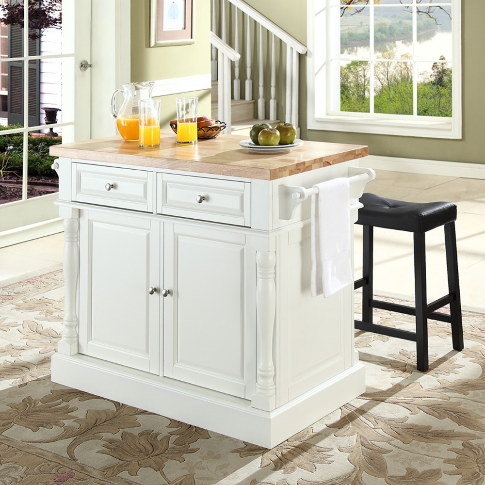 black kitchen island with butcher block top images