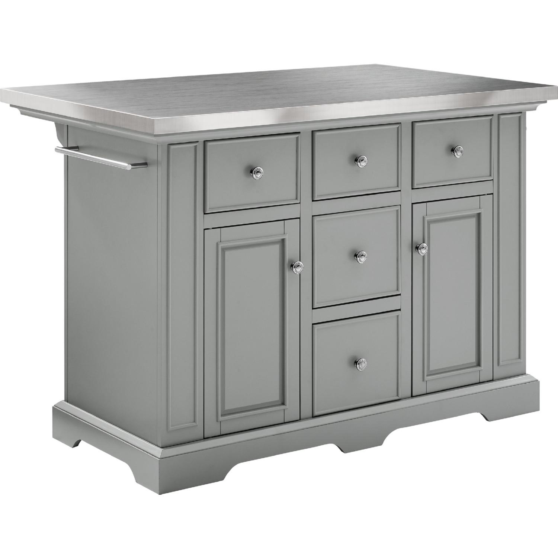 Crosley Kf30025agy Julia Stainless Steel Top Kitchen Island In Gray