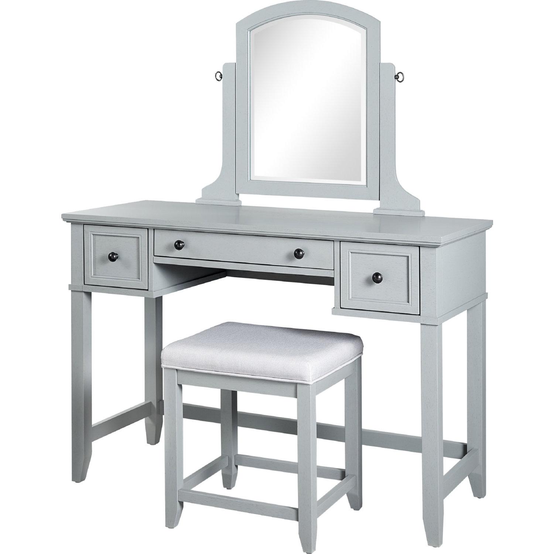 Vista Bedroom Vanity, Mirror & Stool in Vintage Grey Finish by Crosley