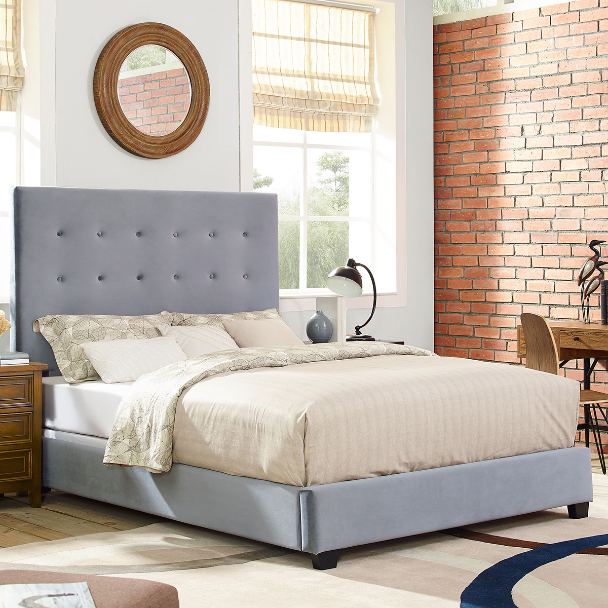 Crosley kf706005sl reston square upholstered king bed in for Shale sofa bed