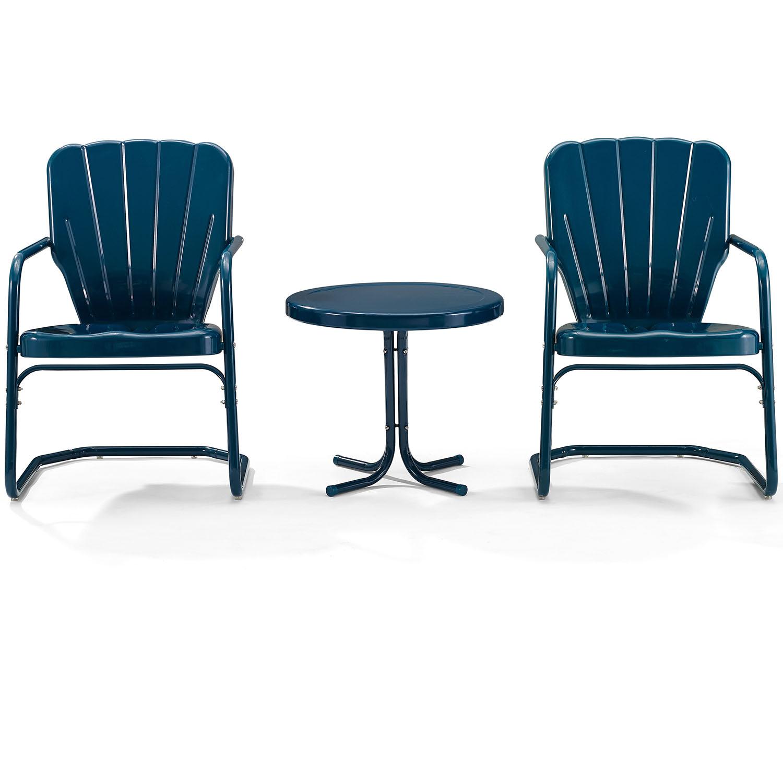 Ridgeland 8 Piece Outdoor Chair & Side Table Set in Navy Blue Metal by  Crosley