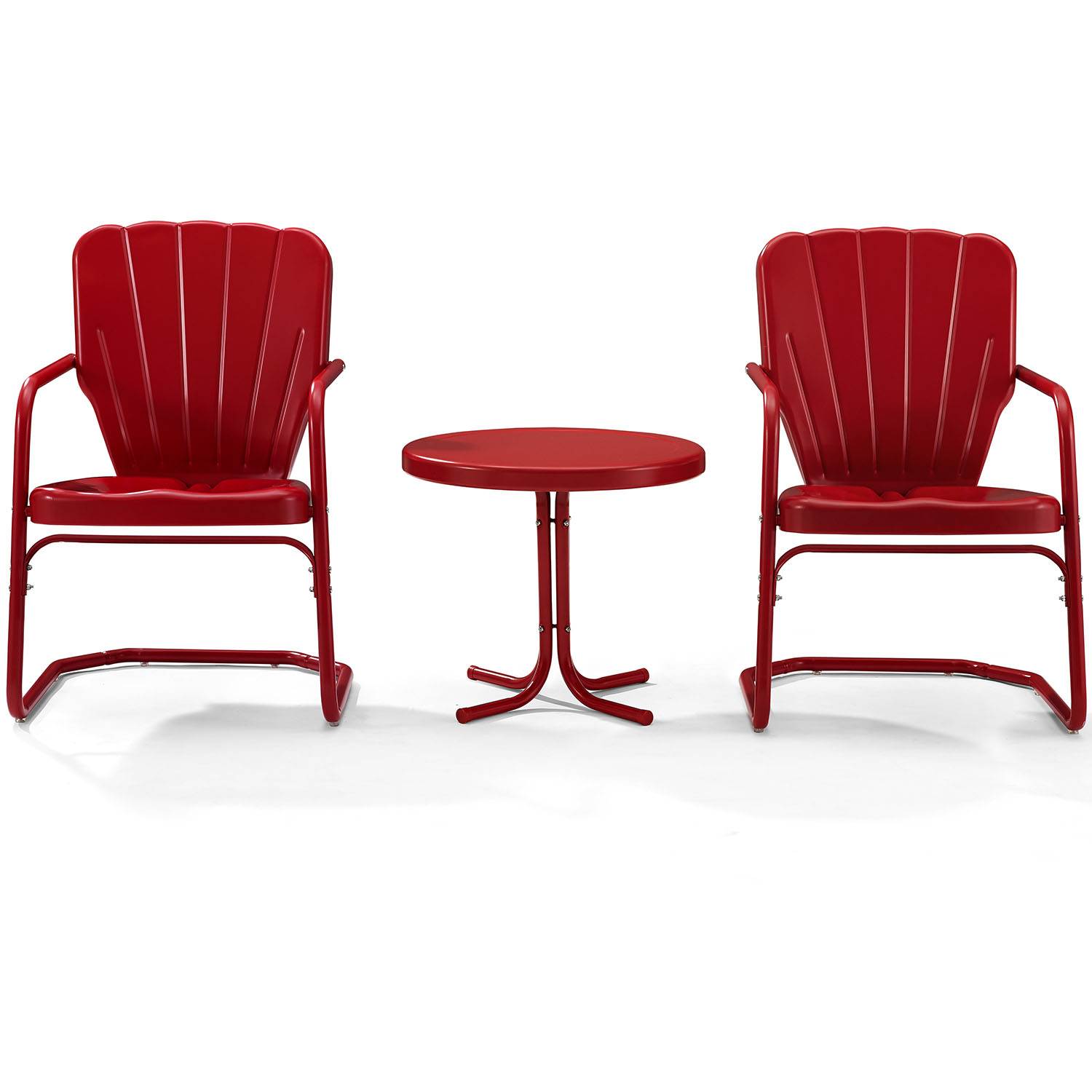 Picture of: Crosley Ko10012re Ridgeland 3 Piece Outdoor Chair Side Table Set In Red Metal