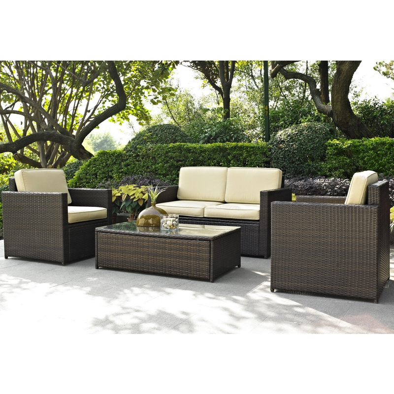 Crosley Palm Harbor 4 Piece Wicker Patio Set: Loveseat, 2 Chairs U0026 Glass  Top Table