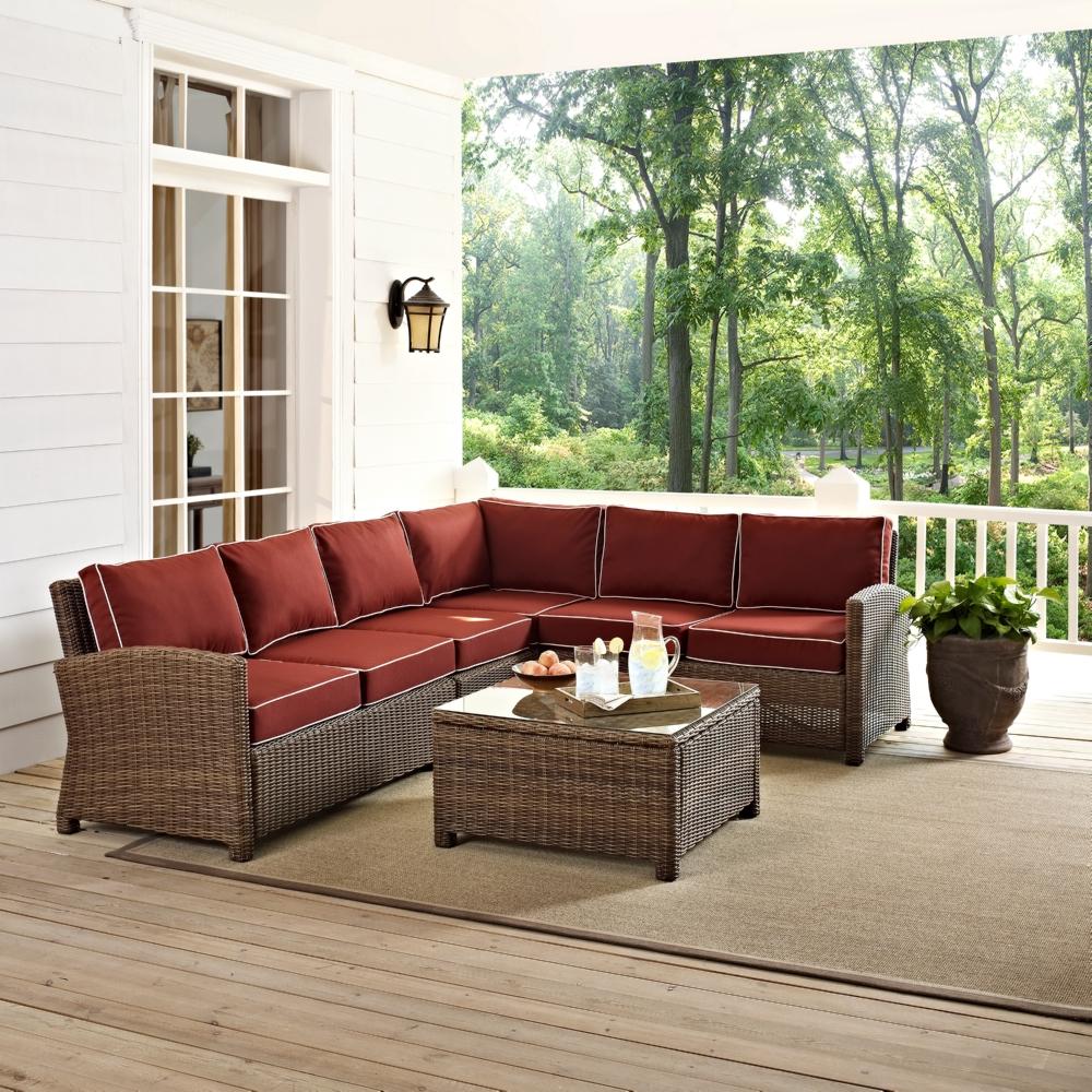 Crosley Ko70020wb Sg Bradenton Collection 5 Piece Outdoor Wicker Seating Set W Sangria Cushions