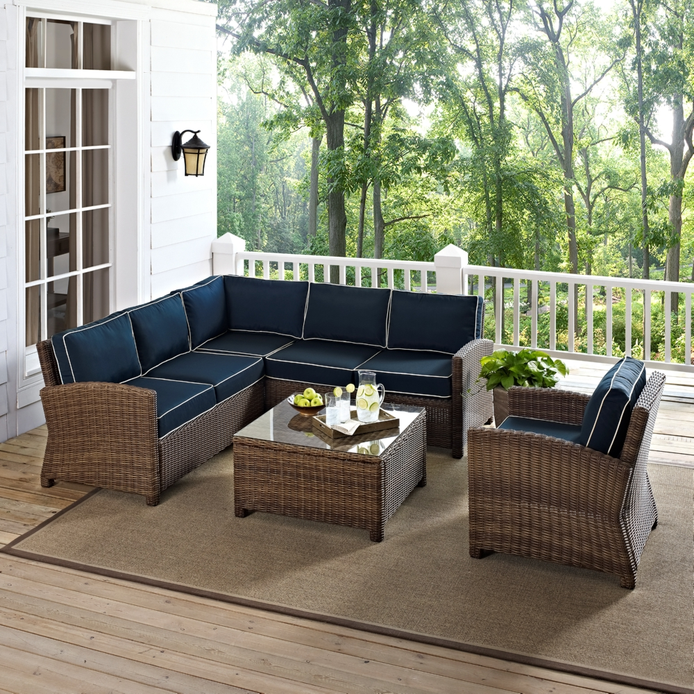 Bradenton Collection 5 Piece Outdoor Wicker Seating Set w/ Navy Cushions - Crosley KO70021WB-NV Bradenton Collection 5 Piece Outdoor Wicker