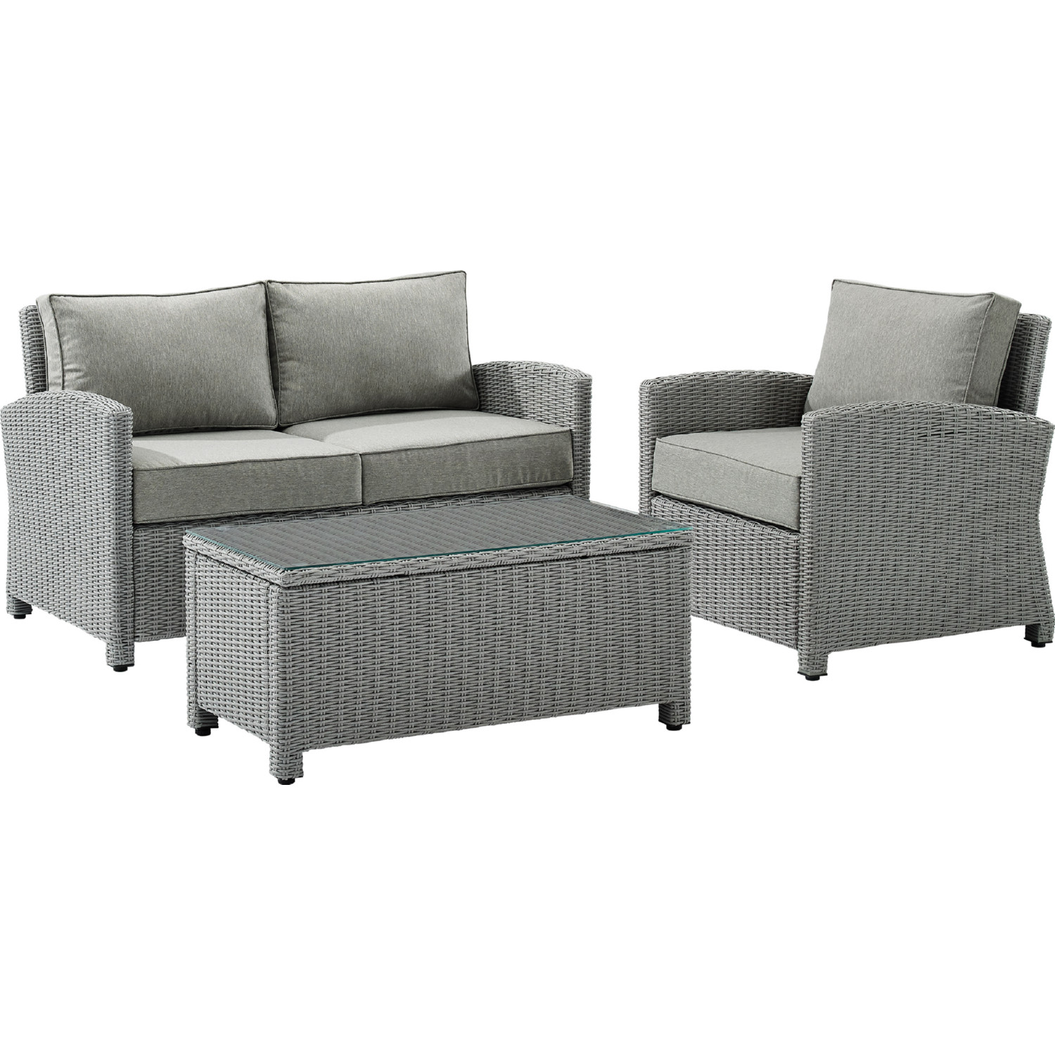 Picture of: Crosley Ko70027gy Gy Bradenton Outdoor Loveseat Arm Chair Table Set In Grey Wicker Fabric