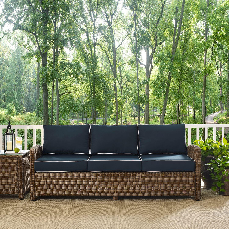 Crosley KO WB NV Bradenton Outdoor Wicker Sofa w Navy Cushions