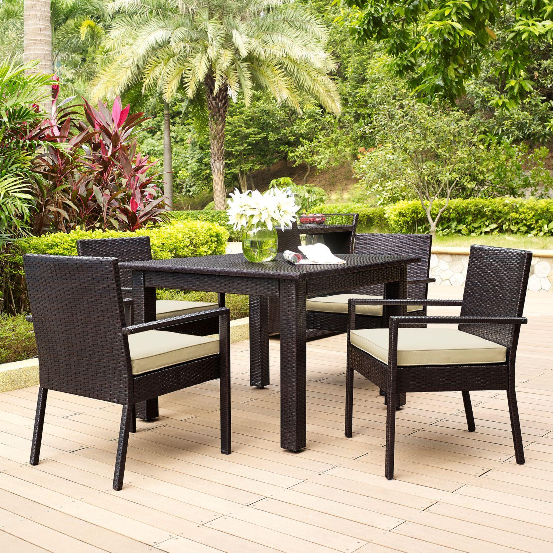 Palm Harbor Outdoor Wicker 5 Piece Dining Set