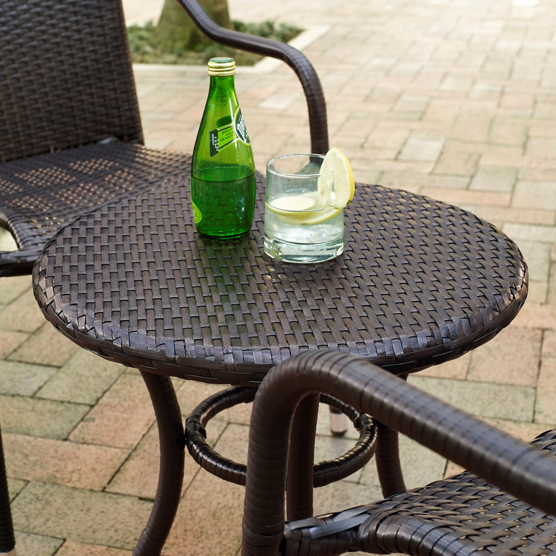 Crosley KO BR Palm Harbor 3 Piece Outdoor Wicker Cafe Seating