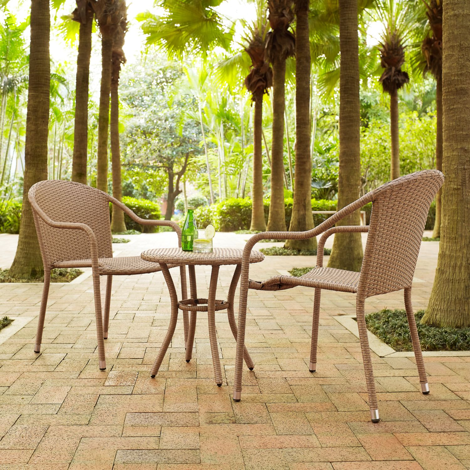 Crosley Palm Harbor 3 Piece Outdoor Wicker Cafe Seating Set In Light Brown    2 Stacking Chairs And Round Sid
